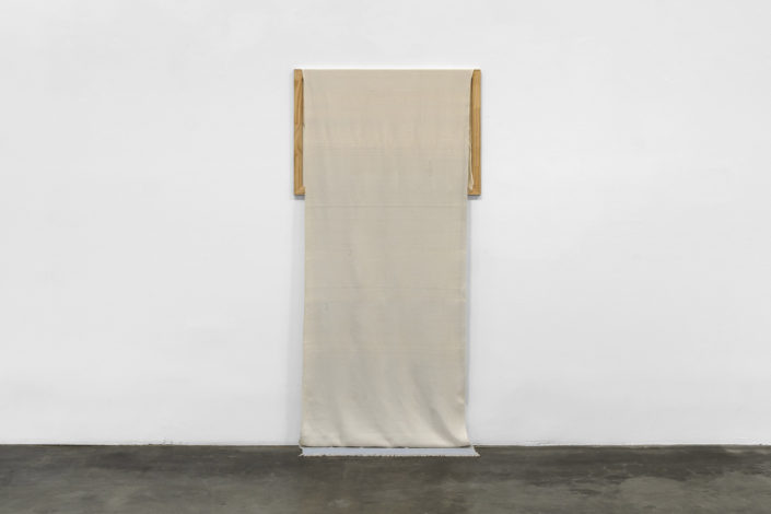 Frances Trombly, Descending Blue, 2016, Handwoven cotton, hand-dyed silk, wood, 72 x 36 x 2 inches