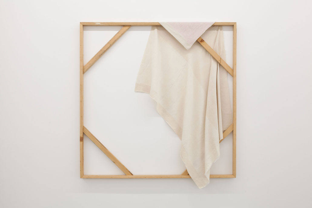 Frances Trombly, Loose Canvas with Pink Embroidery, 2016, Handwoven cotton and hand-embroidered, hand-dyed silk, 48 x 48 x 2 inches