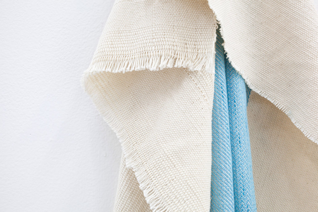 Frances Trombly, Blue Folds, 2015, Hand woven cotton, hand-dyed silk, 39h x 10 x 10d inches