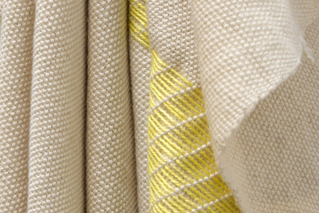 Frances Trombly, Yellow Folds, detail, 2016, Handwoven cotton and hand-embroidered, hand-dyed silk, 38 x 9 x 5 inches