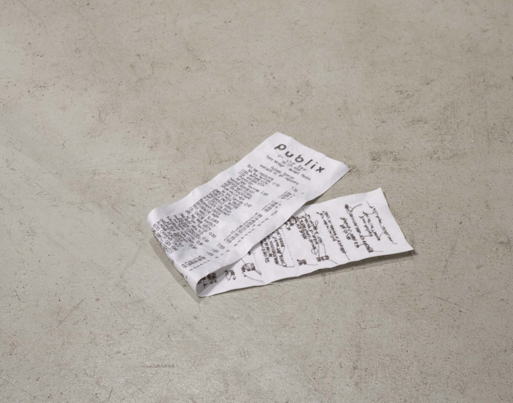 Receipt (Publix), 2008, Embroidery on fabric, 15 x 3 inches