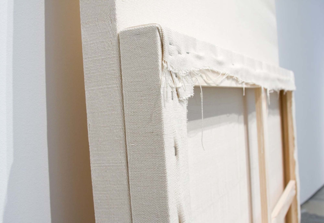 Frances Trombly, Face to Face, detail, 2010. Handwoven canvas, wood, 2 x 14 x14 inches.
