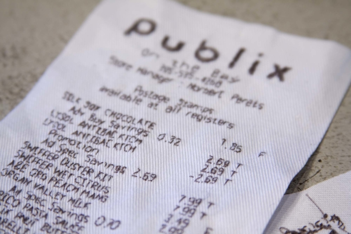Receipt (Publix), detail, 2008, Embroidery on fabric, 15 x 3 inches