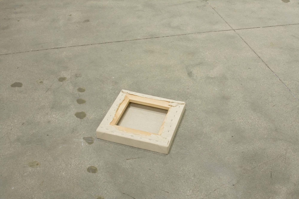 Frances Trombly, Floor Canvas, 2010, Handwoven canvas, wood, 2 x 14 x 14 inches.