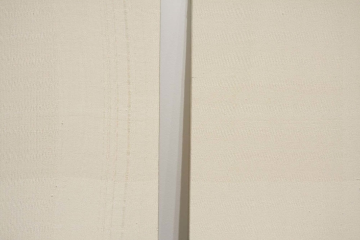 Frances Trombly, Diptych, 2010, Handwoven canvas, wood, 28 x 28 x 2 inches.