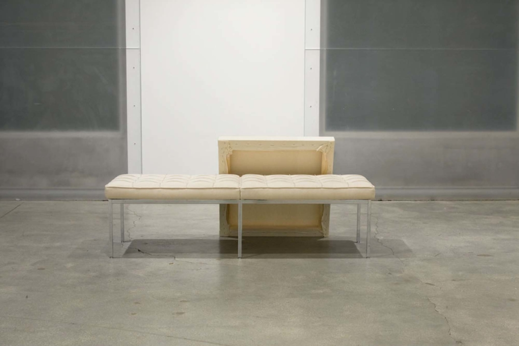 Frances Trombly, Three Seater Bench with Canvas, 2010, Reupholstered Florence Knoll Three SeaterBench, handwoven canvas, wood, 62 x 30 1/4 x 26 inches.