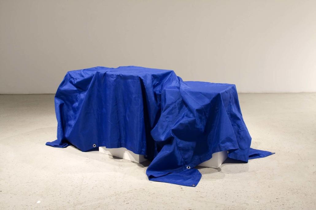 Frances Trombly, All Purpose Tarp, 2008, Handwoven polypropylene fiber, pedestals, dimensions variable, tarp: 110 x 45 inches
