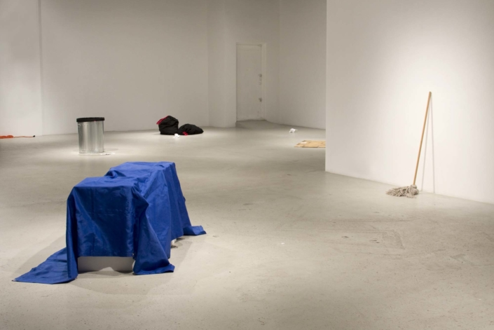 Frances Trombly, All Purpose Tarp, 2008, Handwoven polypropylene fiber, pedestals, dimensions variable, tarp: 110 x 45 inches