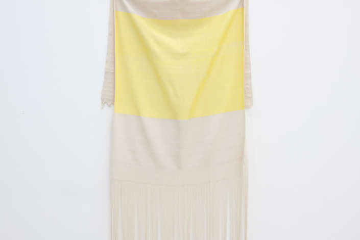 Frances Trombly, Yellow Rayon with Canvas, 2013, Hand-dyed, handwoven rayon and cotton, 98 x 33 1/2 inches