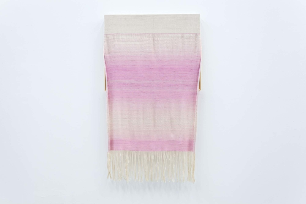 Frances Trombly, Canvas with Pink Silk, 2015, Hand woven cotton, hand-dyed silk, wood, 52h x 30 x 3 inches