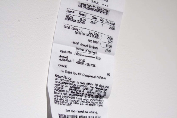 Frances Trombly, Receipt(MOMA),2008, Embroideryonfabric, 5 x3inches