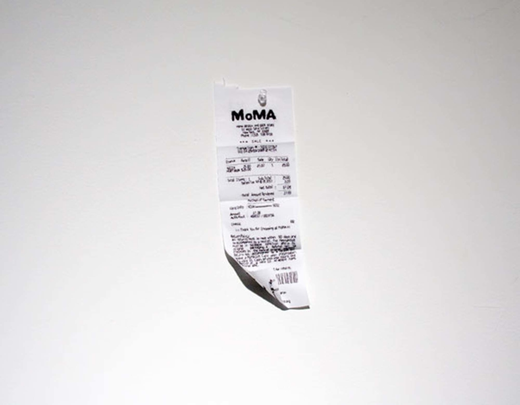 Frances Trombly, Receipt (MOMA), 2008, Embroidery on fabric, 5 x 3 inches