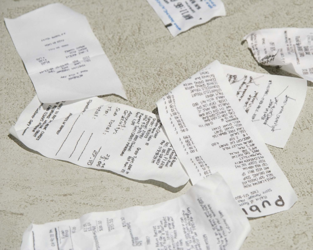 Frances Trombly, Random Receipts, 2007, Hand-embroidery on fabric, Dimensions variable. 10 pieces.