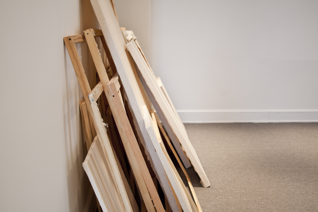 Frances Trombly, Storage, 2011, Handwoven canvas, wood, Dimensions Variable.