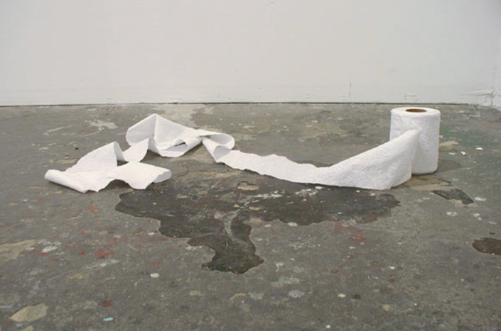 Frances Trombly, Toilet Paper, 2003, Hand-embroidered fabric, Dimensions Variable, 4 ½ x 4 x 4 inches