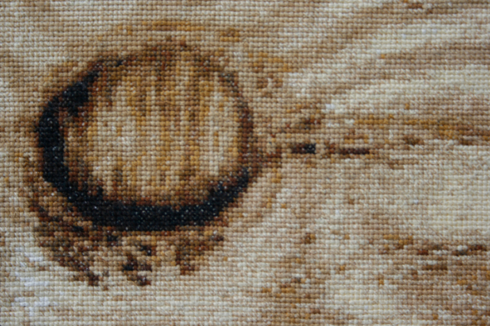 Frances Trombly, Plywood, 2004, Detail, Hand Cross-stitched fabric, 14 1/2 X 10 inches.Collection Francie Bishop Good and David Horvitz, Fort Lauderdale, FL
