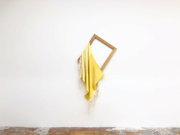 """Frances Trombly, Untitled, (Daylight) 2020, Handwoven, Hand-dyed (Weld) silk and rayon, cotton, wood, 72 x 34"""", Private Collection."""