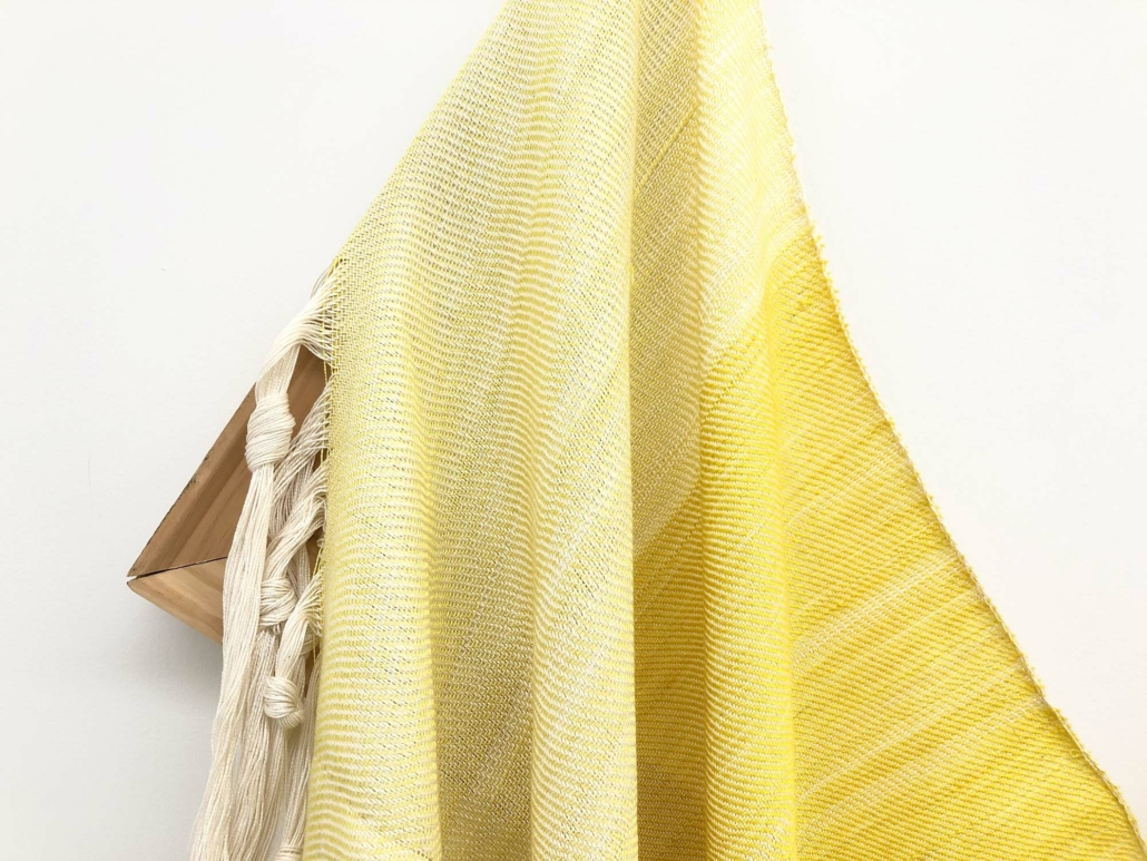 "Frances Trombly, Untitled, (Daylight) 2020, Handwoven, Hand-dyed (Weld) silk and rayon, cotton, wood, 72 x 34"", Private Collection."