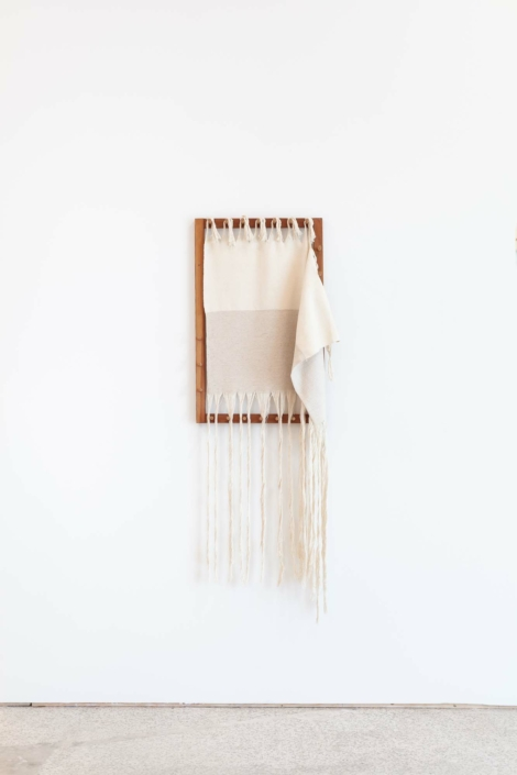 Frances Trombly, Linen with Canvas on Warping Board, 2019, Handwoven cotton canvas, linen, wood 21 x 62 x 7 inches