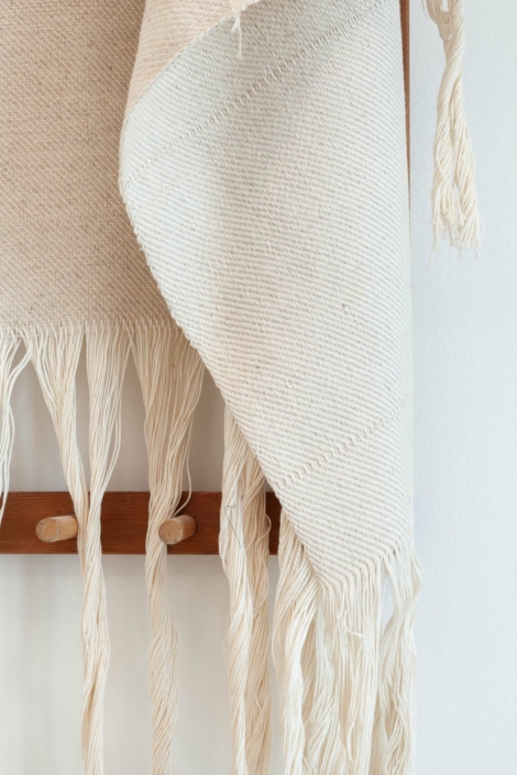 Frances Trombly, Linen with Canvas on Warping Board, 2019, Handwoven cotton canvas, linen, wood, 21 x 62 x 7 inches